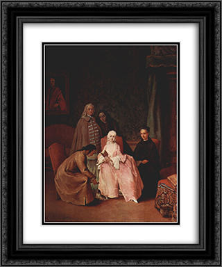 A Visit to a Lady 20x24 Black or Gold Ornate Framed and Double Matted Art Print by Pietro Longhi