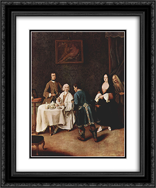 A Visit to a Lord 20x24 Black or Gold Ornate Framed and Double Matted Art Print by Pietro Longhi