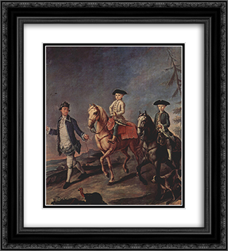 A Walk On Horseback 20x22 Black or Gold Ornate Framed and Double Matted Art Print by Pietro Longhi