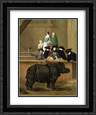 Clara the Rhinoceros 20x24 Black or Gold Ornate Framed and Double Matted Art Print by Pietro Longhi