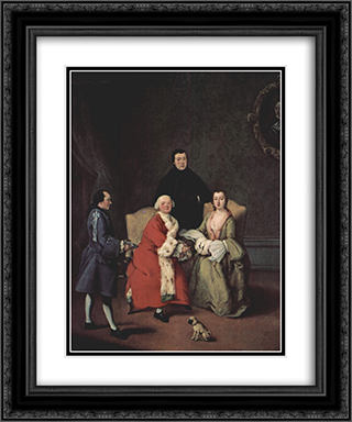 Conversation in the family 20x24 Black or Gold Ornate Framed and Double Matted Art Print by Pietro Longhi