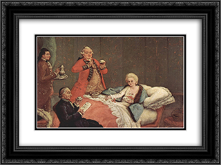 Early Morning Chocolate 24x18 Black or Gold Ornate Framed and Double Matted Art Print by Pietro Longhi