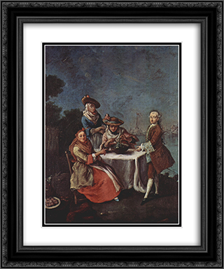 In The Vegetable Garden At The River Mouth 20x24 Black or Gold Ornate Framed and Double Matted Art Print by Pietro Longhi