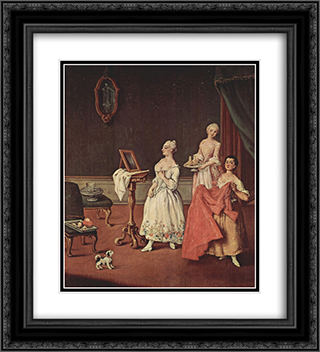 Lady at her Toilette 20x22 Black or Gold Ornate Framed and Double Matted Art Print by Pietro Longhi