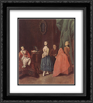 Lady at the Dressmaker 20x22 Black or Gold Ornate Framed and Double Matted Art Print by Pietro Longhi