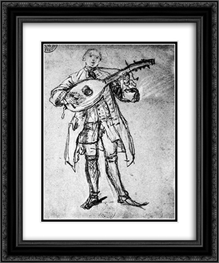Lute Player 20x24 Black or Gold Ornate Framed and Double Matted Art Print by Pietro Longhi