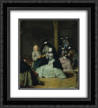 Masked Party in a Courtyard 20x22 Black or Gold Ornate Framed and Double Matted Art Print by Pietro Longhi