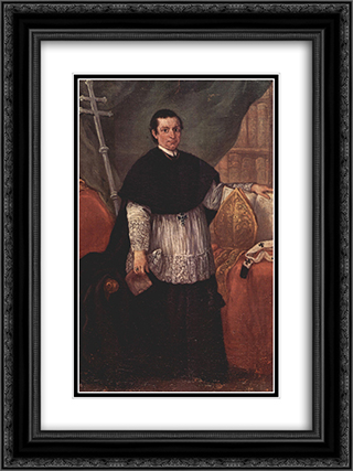 Portrait of Bishop Benedetto Ganassoni 18x24 Black or Gold Ornate Framed and Double Matted Art Print by Pietro Longhi