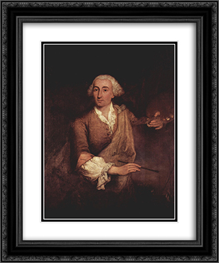 Portrait of Francesco Guardi 20x24 Black or Gold Ornate Framed and Double Matted Art Print by Pietro Longhi
