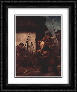 Preparing the Guns 20x24 Black or Gold Ornate Framed and Double Matted Art Print by Pietro Longhi