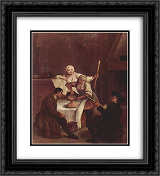 Preparing the Polenta 20x22 Black or Gold Ornate Framed and Double Matted Art Print by Pietro Longhi