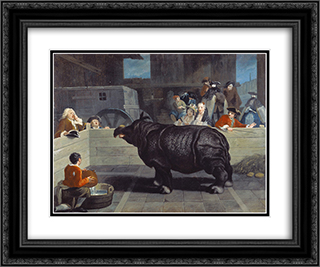 Rhinoceros in Venice 24x20 Black or Gold Ornate Framed and Double Matted Art Print by Pietro Longhi