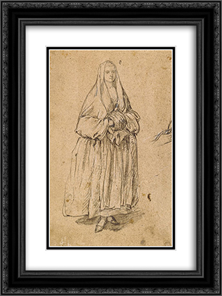 Standing Woman Holding a Muff Facing Right 18x24 Black or Gold Ornate Framed and Double Matted Art Print by Pietro Longhi