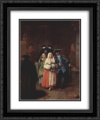 The `New World' 20x24 Black or Gold Ornate Framed and Double Matted Art Print by Pietro Longhi