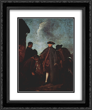 The Arrival of the Nobleman 20x24 Black or Gold Ornate Framed and Double Matted Art Print by Pietro Longhi