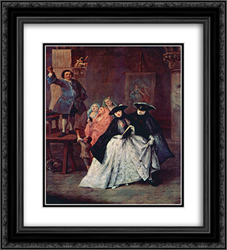 The Charlatan 20x22 Black or Gold Ornate Framed and Double Matted Art Print by Pietro Longhi