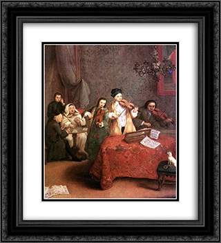 The Concert 20x22 Black or Gold Ornate Framed and Double Matted Art Print by Pietro Longhi