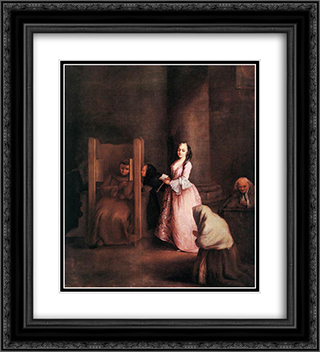 The Confession 20x22 Black or Gold Ornate Framed and Double Matted Art Print by Pietro Longhi