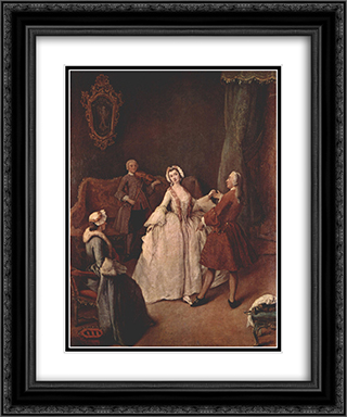 The Dancing Lesson 20x24 Black or Gold Ornate Framed and Double Matted Art Print by Pietro Longhi