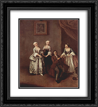 The Family 20x22 Black or Gold Ornate Framed and Double Matted Art Print by Pietro Longhi