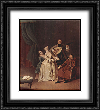The Family Concert 20x22 Black or Gold Ornate Framed and Double Matted Art Print by Pietro Longhi