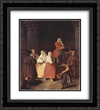 The Fortune Teller 20x22 Black or Gold Ornate Framed and Double Matted Art Print by Pietro Longhi