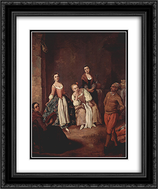 The furlana (Venetian dance) 20x24 Black or Gold Ornate Framed and Double Matted Art Print by Pietro Longhi
