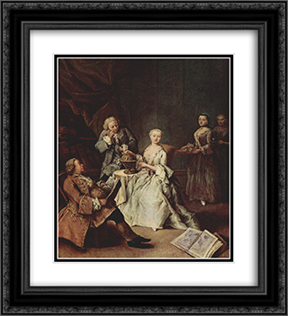 The Geography Lesson 20x22 Black or Gold Ornate Framed and Double Matted Art Print by Pietro Longhi