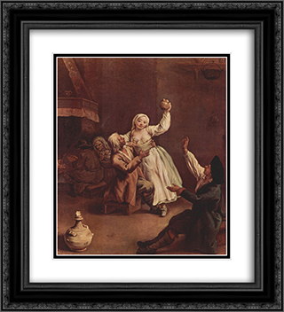The Happy Couple 20x22 Black or Gold Ornate Framed and Double Matted Art Print by Pietro Longhi