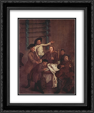 The Hunters Drawing Numbers 20x24 Black or Gold Ornate Framed and Double Matted Art Print by Pietro Longhi