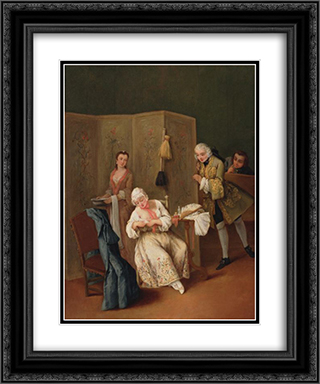 The Indiscreet Gentleman 20x24 Black or Gold Ornate Framed and Double Matted Art Print by Pietro Longhi
