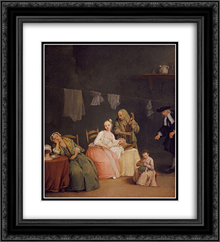 The Letter 20x22 Black or Gold Ornate Framed and Double Matted Art Print by Pietro Longhi