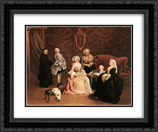 The Little Concert 24x20 Black or Gold Ornate Framed and Double Matted Art Print by Pietro Longhi