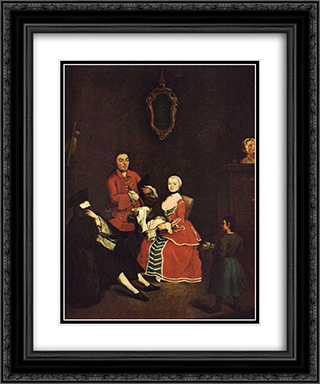 The Masked Visitor 20x24 Black or Gold Ornate Framed and Double Matted Art Print by Pietro Longhi