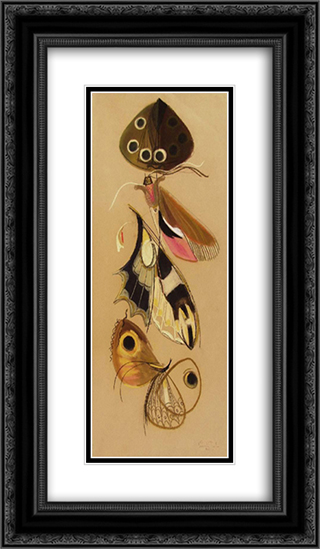 Butterflies 14x24 Black or Gold Ornate Framed and Double Matted Art Print by Piroska Szanto