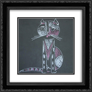 Cat 20x20 Black or Gold Ornate Framed and Double Matted Art Print by Piroska Szanto