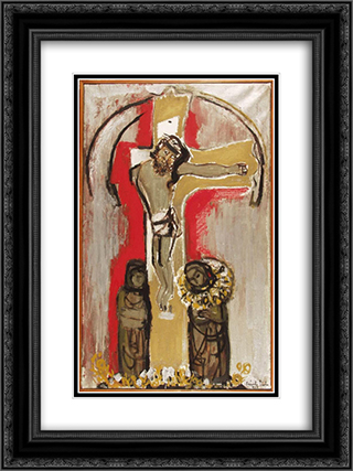 Hungarian Christ 18x24 Black or Gold Ornate Framed and Double Matted Art Print by Piroska Szanto