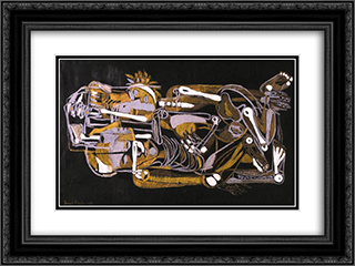 Lovers (Bone Music) 24x18 Black or Gold Ornate Framed and Double Matted Art Print by Piroska Szanto