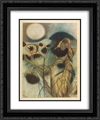 Pink Moon II 20x24 Black or Gold Ornate Framed and Double Matted Art Print by Piroska Szanto