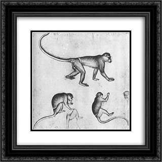 Apes 20x20 Black or Gold Ornate Framed and Double Matted Art Print by Pisanello