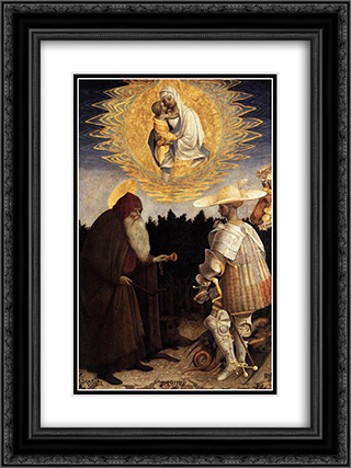 Apparition of the Virgin to Sts Anthony Abbot and George 18x24 Black or Gold Ornate Framed and Double Matted Art Print by Pisanello