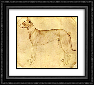Dog 22x20 Black or Gold Ornate Framed and Double Matted Art Print by Pisanello