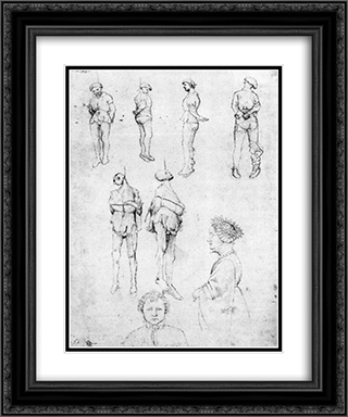 Hanged Men and Two Portraits 20x24 Black or Gold Ornate Framed and Double Matted Art Print by Pisanello
