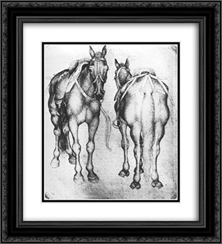 Horses 20x22 Black or Gold Ornate Framed and Double Matted Art Print by Pisanello