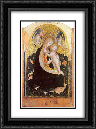 Madonna and Quail 18x24 Black or Gold Ornate Framed and Double Matted Art Print by Pisanello
