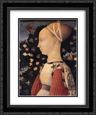 Portrait of a Princess of the House of Este 20x24 Black or Gold Ornate Framed and Double Matted Art Print by Pisanello