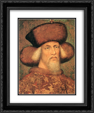 Portrait of Emperor Sigismund of Luxembourg 20x24 Black or Gold Ornate Framed and Double Matted Art Print by Pisanello