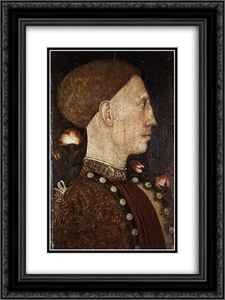 Portrait of Leonillo d'Este 18x24 Black or Gold Ornate Framed and Double Matted Art Print by Pisanello