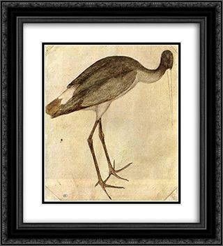 Stork 20x22 Black or Gold Ornate Framed and Double Matted Art Print by Pisanello