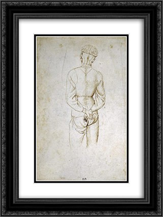 Study of a Young Man with his Hands tied behind his back 18x24 Black or Gold Ornate Framed and Double Matted Art Print by Pisanello
